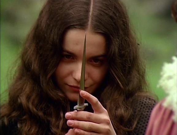 "Tina Romero wielding a knife. Look how ""Crazed"" she looks."