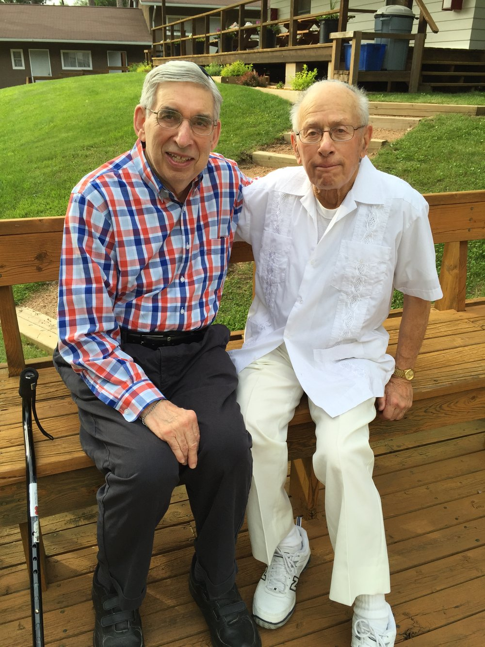Rabbi Burt Cohen and Mayer Stiebel, both campers during Camp Ramah in Wisconsin's first season in 1947, are shown here during a recent visit to camp.