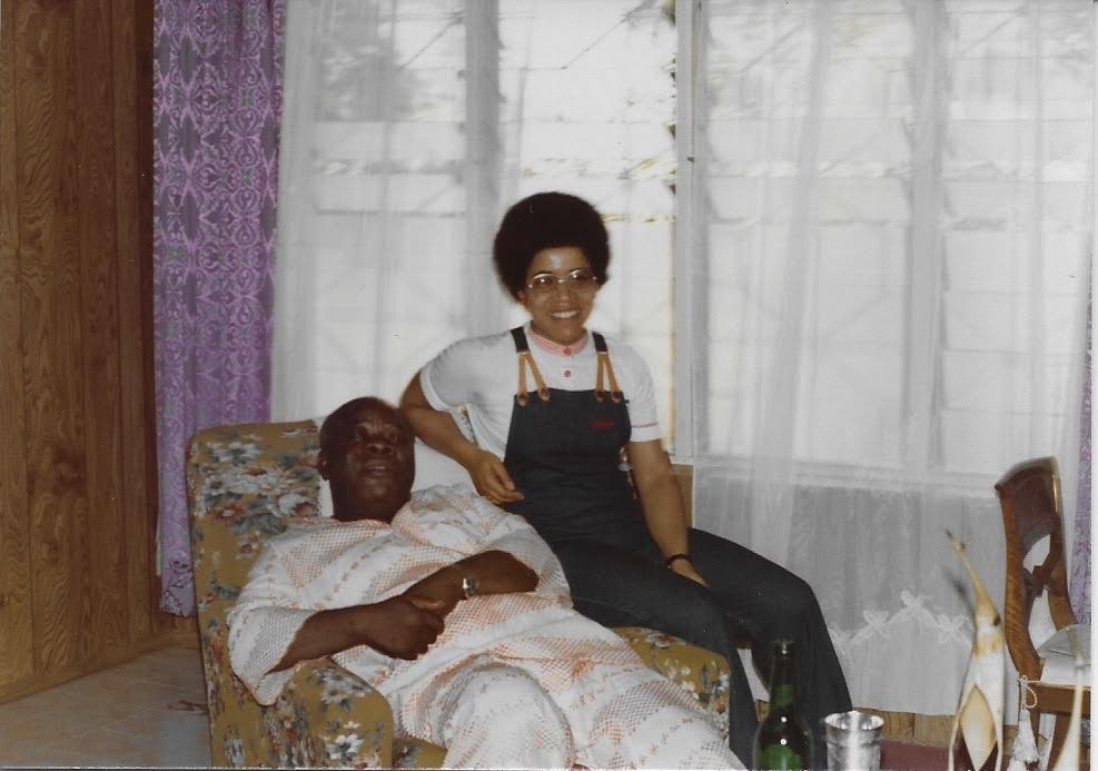 1977 Elizabeth with her dad in Onitsha, Nigeria