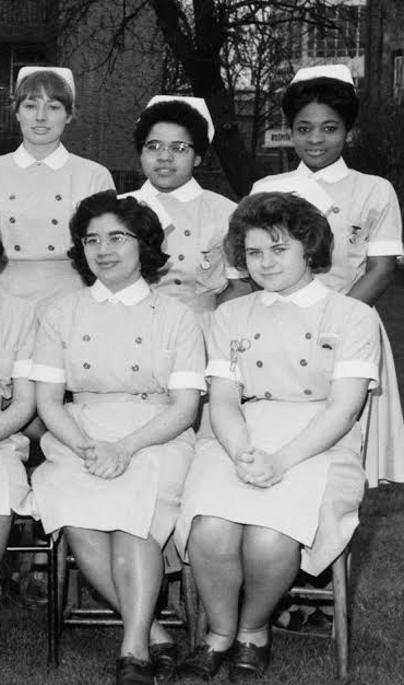 1966 Photo Trainee Nurses. Elizabeth Anionwu (centre)