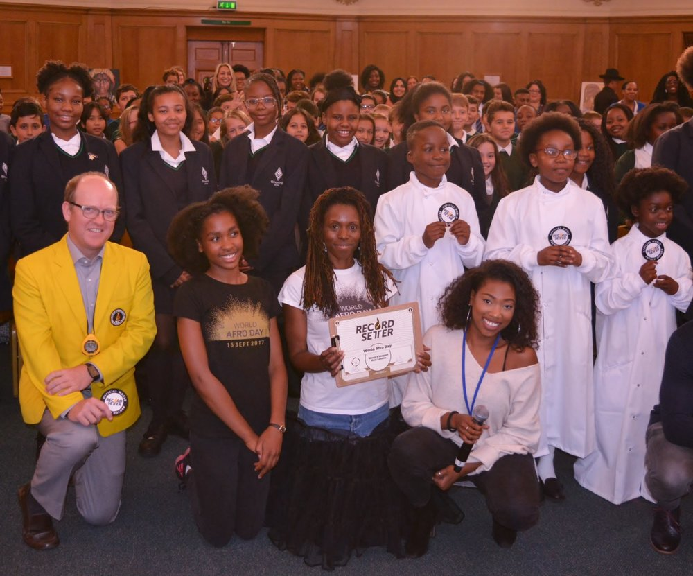 World Afro Day largest hair education lesson at Church House in  Westminster, London