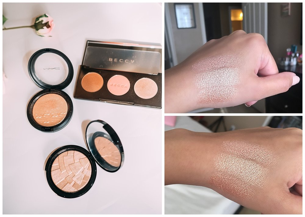 Top to bottom on my hand: Opal by Becca, So hollywood by ABH, Oh darling by Mac   1.  So Hollywood by A nastasia beverly hills   When this highlighter first came out I wasn't able to get my hands on it, it was sold out so fast. The hype about this highlighter was so crazy and let me tell you, I totally understand the hype after purchasing this highlighter. It randomly restocked online months later so I finally gave in and bought it. I've been obsessed ever since. It is so pigmented and the finish is so beautiful on the skin, it is a perfect gold highlighter. It doesn't have any orange or pinkish undertone, its pure gold.   2  .  Oh Darling by MAC    This extra dimension skinfinish is also another great highlighter to have. This is more of a warmer gold with a orange-brown undertone, you can see the difference between this and so hollywood once you apply it on your skin. This also has an amazing pigmentation and blends so well into your skin leaving you a dewy glow. I absolutely love it!   3.  Opal by becca    This is another highlighter that everyone loves and I was hesitant on buying because I have SOO MANY highlighters already. I wasn't going to buy this one until they came out with the  sunchaser palette . This palette has the sunlight bronzer ( which I love) also a blush and the opal highlight. It is the perfect palette to have for traveling and when you want to pack light. Its a great 3 in one palette.  I have been just using this palette lately to bronze, for blush and highlight. I love the opal highlight as well it has an amazing finish super pigmented and lasts all day. This highlight has a pinkish undertone so it is different than the other two I mentioned above.