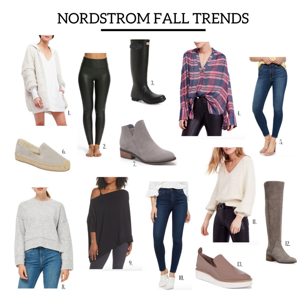 1.  Knit Cardigan  | 2.  Leather Leggings  | 3.  Rain Boots  | 4.  Flannel  | 5.  Casual Skinnies  | 6.  Espadrilles  | 7.  Booties  | 8.  Boxy Sweater  | 9.  Cotton Pullover  | 10.  Dressy Skinnies  | 11.  Cream Sweater  | 12.  Over the Knee Boot  | 13.  Blush Sneaker  |