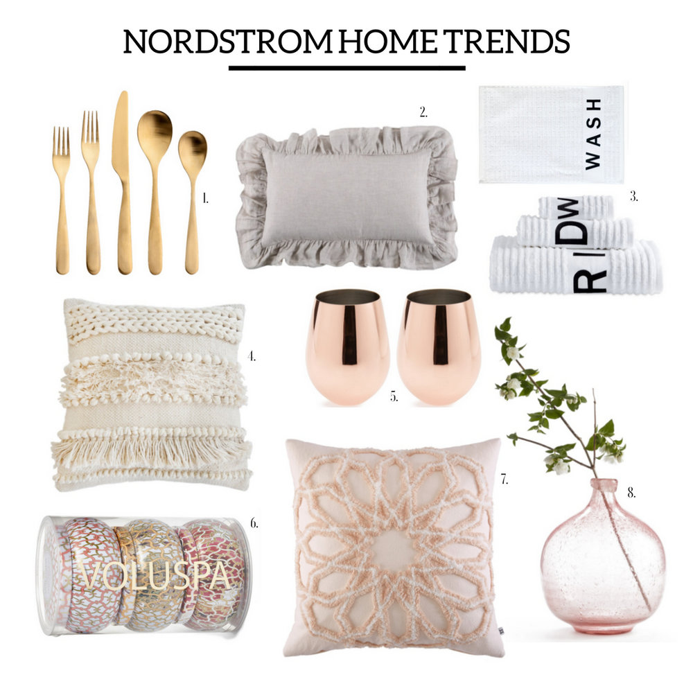 1.  Gold Flatware  | 2.  Ruffled Pillow  | 3.  Wash, Rinse, Dry Towel Set  | 4.  Boho Pillow  | 5.  Copper Wine Glasses  | 6.  Voluspa Candle Set  | 7.  Peach Pillow  | 8.  Pink Vase  |