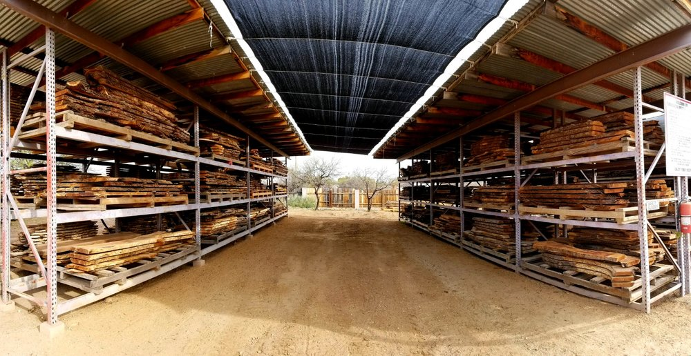 """Two of six mesquite lumber racks at """"The Sawmill"""""""