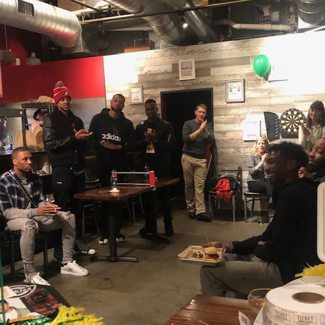 NBA All-Star Damian Lillard and teammate CJ McCollum stop by to show their support for Coach Campbell at the fundraising party