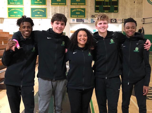 Seniors Nuradiin Hilhole, Cassel Evens, John Carr, and Myles Walker with Coach Jaz 2018-19