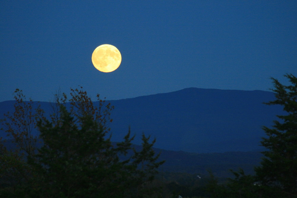 Summer Blue Moon Rise over the Green Mountains