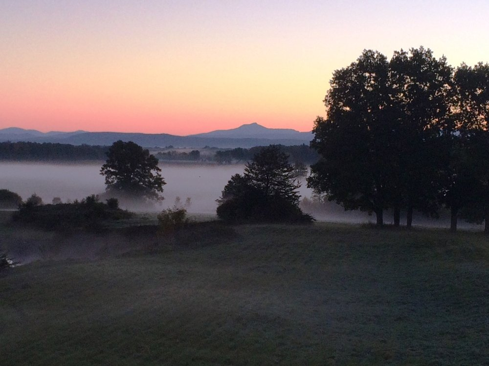 Foggy meadows and Camels Hump at sunrise!