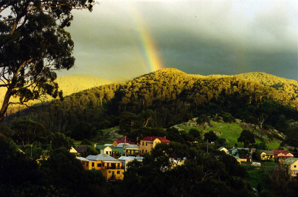 Rainbow over Central Tilba and Gulaga (Mount Dromedary)