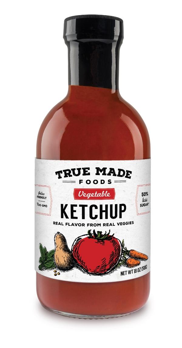 Vegetable Ketchup - True Made Foods has completely reinvented America's favorite condiment without changing the flavor. 100% Ketchup taste with a 100% better nutritional profile. We removed the corn syrup and added vegetables instead, specifically spinach, carrots and butternut squash. The vegetables naturally sweeten the ketchup, allowing us to cut the added sugar in half. True Made Foods turned this once empty calorie American staple into a nutrient dense, paleo friendly superfood.