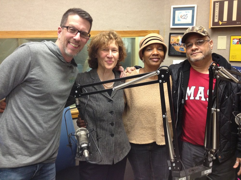 Judith Roberts and Literacy Project students Manny and Maria join Michael Kusick to create a radio spot for Valley Gives Day.