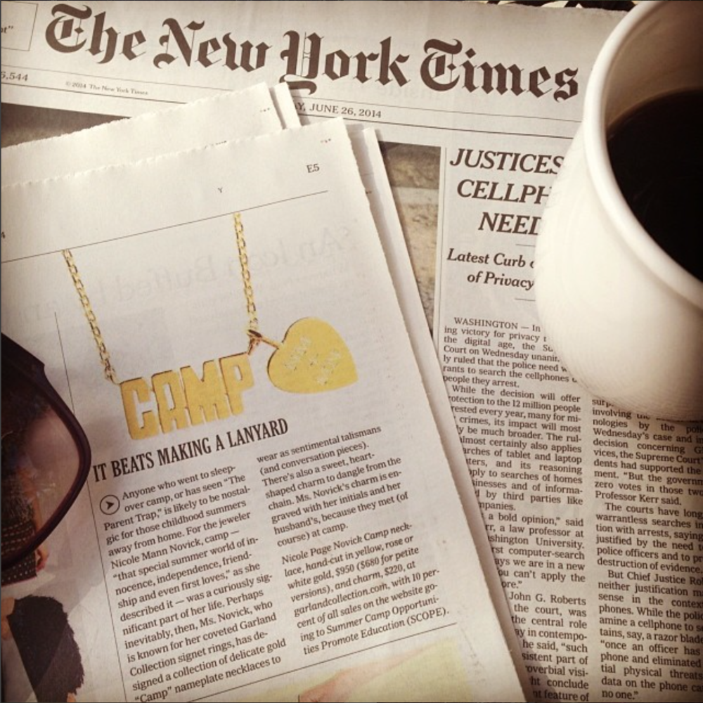 Garland Collection CAMP necklace featured in  The New York Times