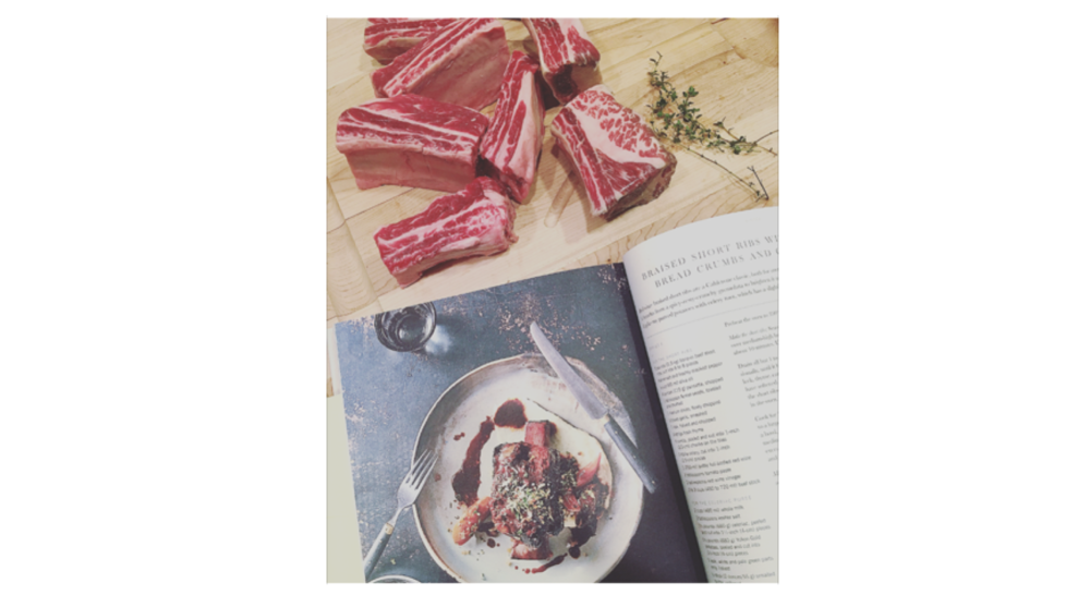 Short Rib prep with fresh thyme via the Barnhouse garden via Cook Beautiful
