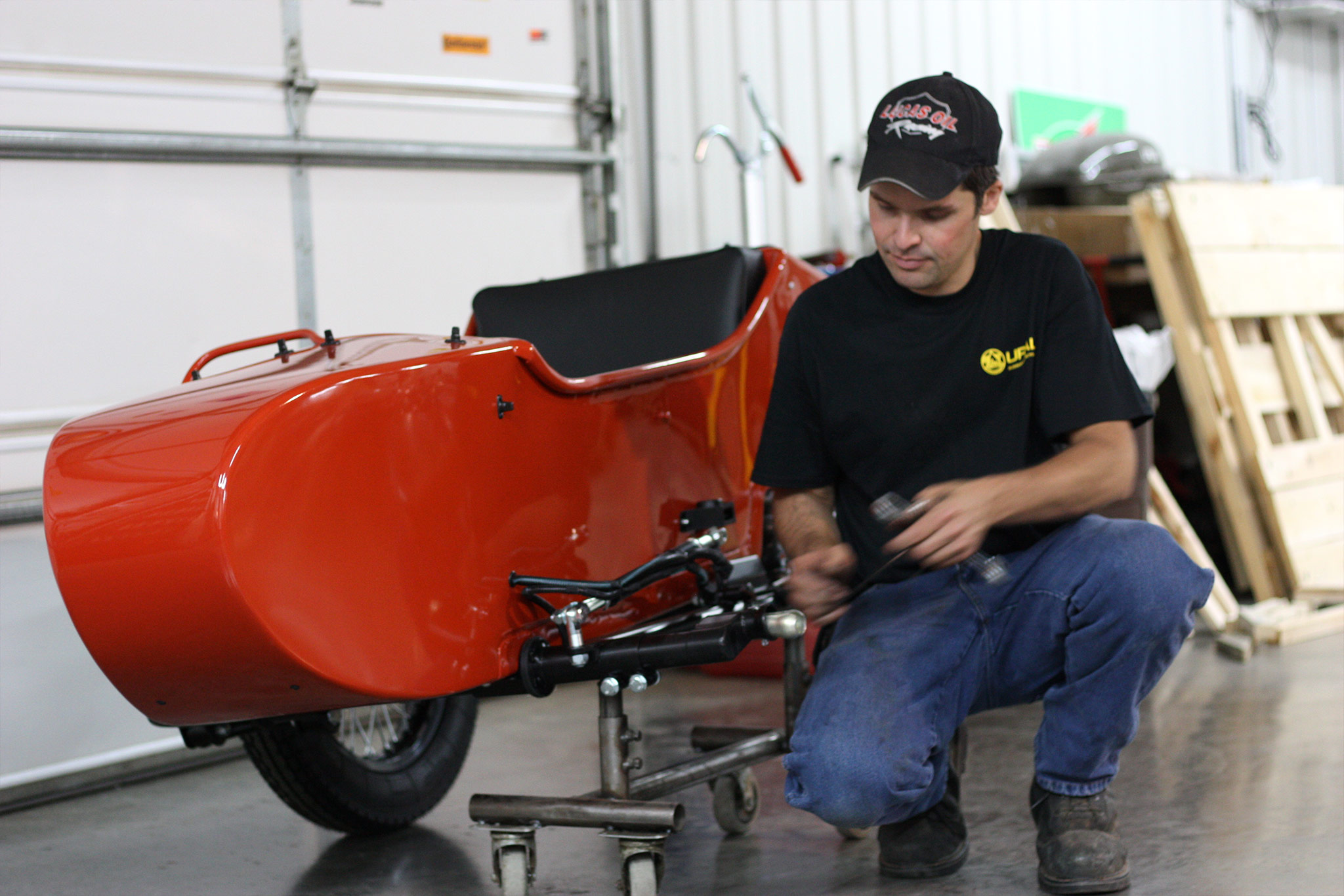 Jon prepping the sidecar for installation.