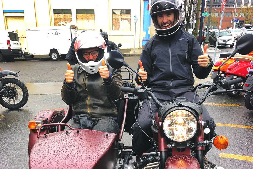 """RAIN or Shine"" test riders at  Ural Portland ."