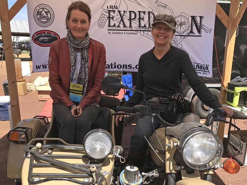 Elspeth Beard  and  Carla King : Many, many miles have been logged on motorcycles by these accomplished women.