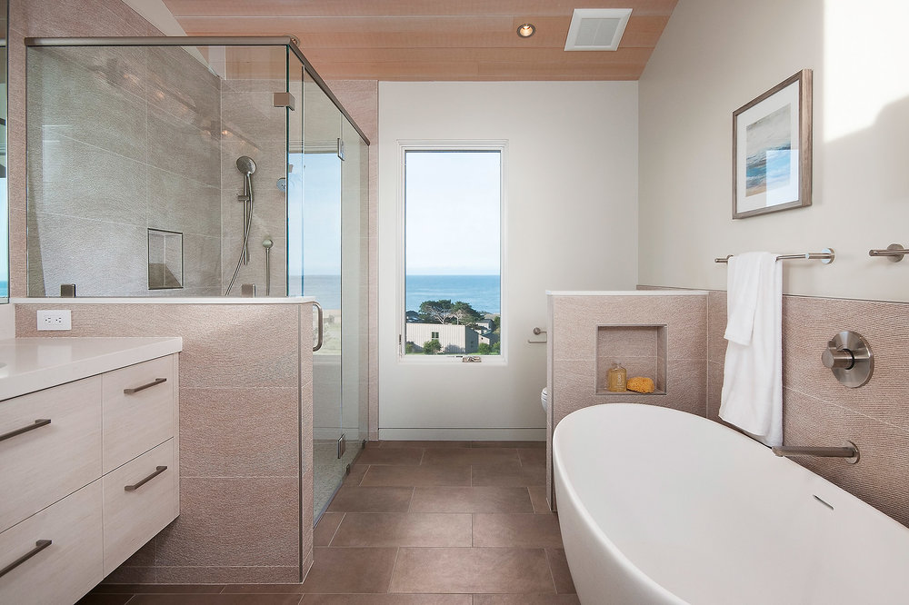 Master Bath #1 with Caesarstone Countertops and Floor to Ceiling Italian Porcelain Tile