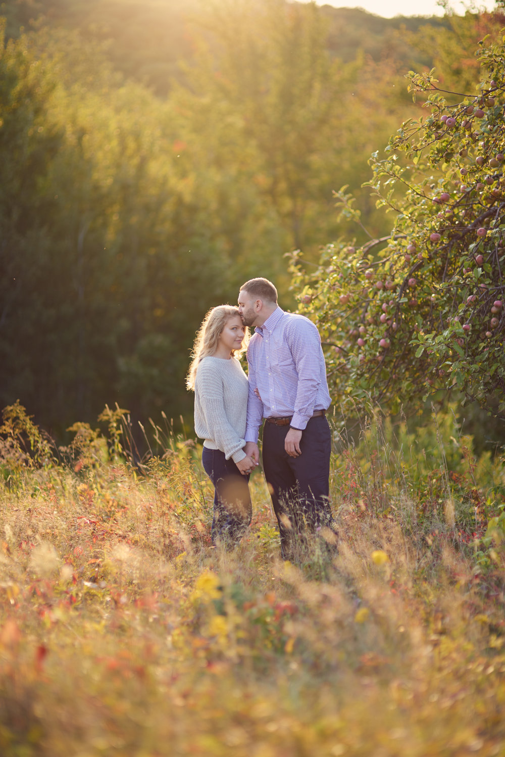 Anesa and Mahlik's Fall sunset engagement session in Meredith, New Hampshire.