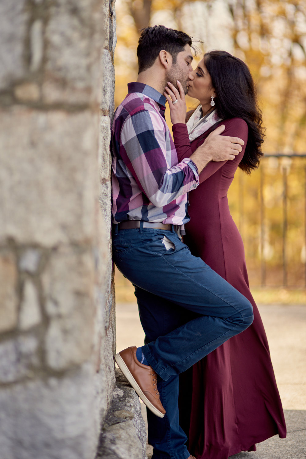 Kristin and Chris's Fall engagement session at Winnekenni Castle in Haverhill, Massachusetts.