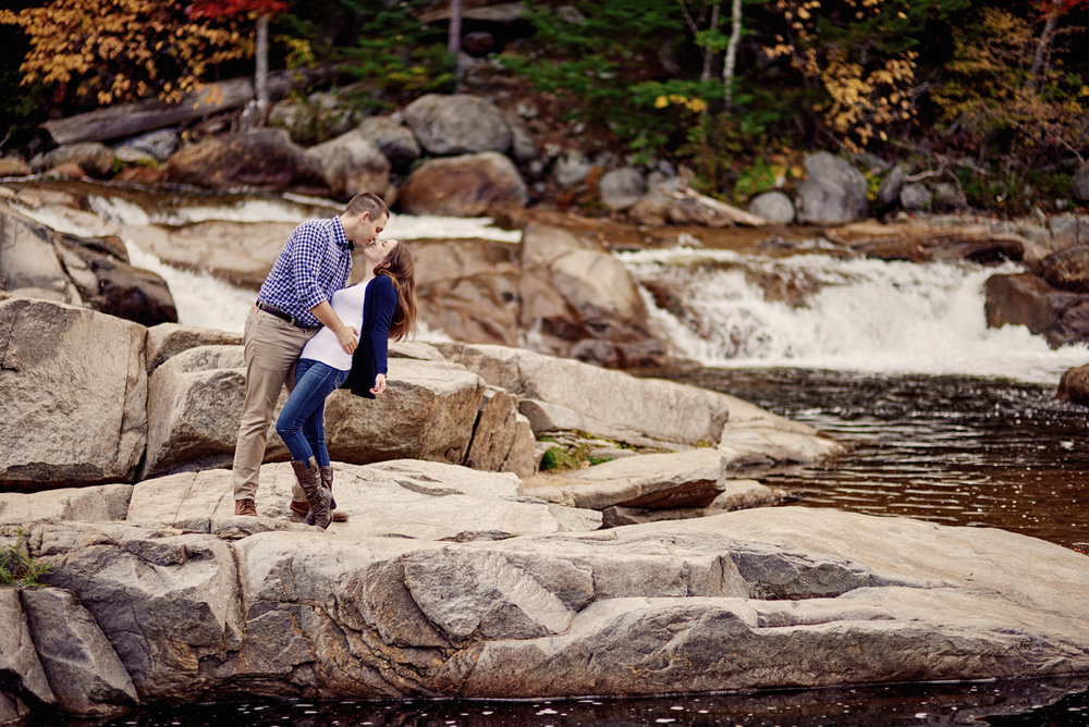 Stephanie and Paul's Fall engagement session along the Kancamangus Highway in the White Mountains of New Hampshire.