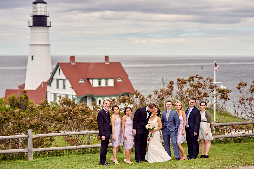 Bridal party photo at a lighthouse in Maine