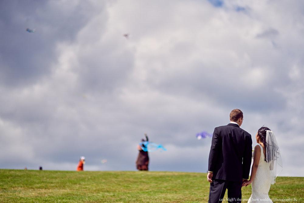 Bride and groom creative portrait unique fun love