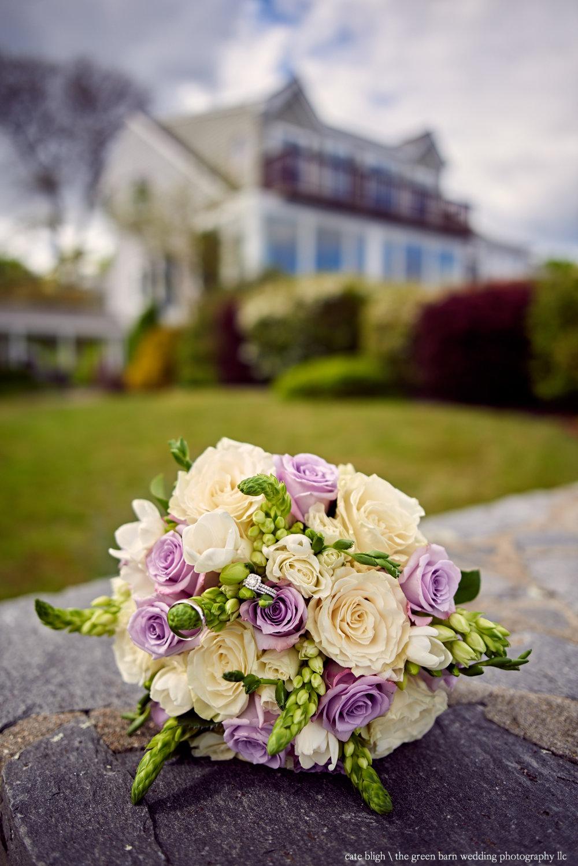Gorgeous bridal bouquet purple beach house wedding Maine