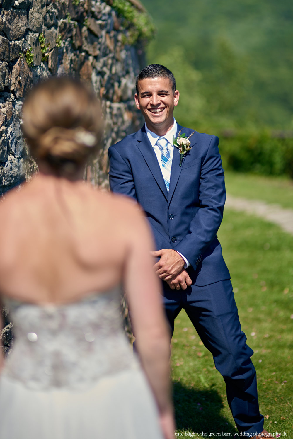 Grooms reaction at first look New Hampshire wedding