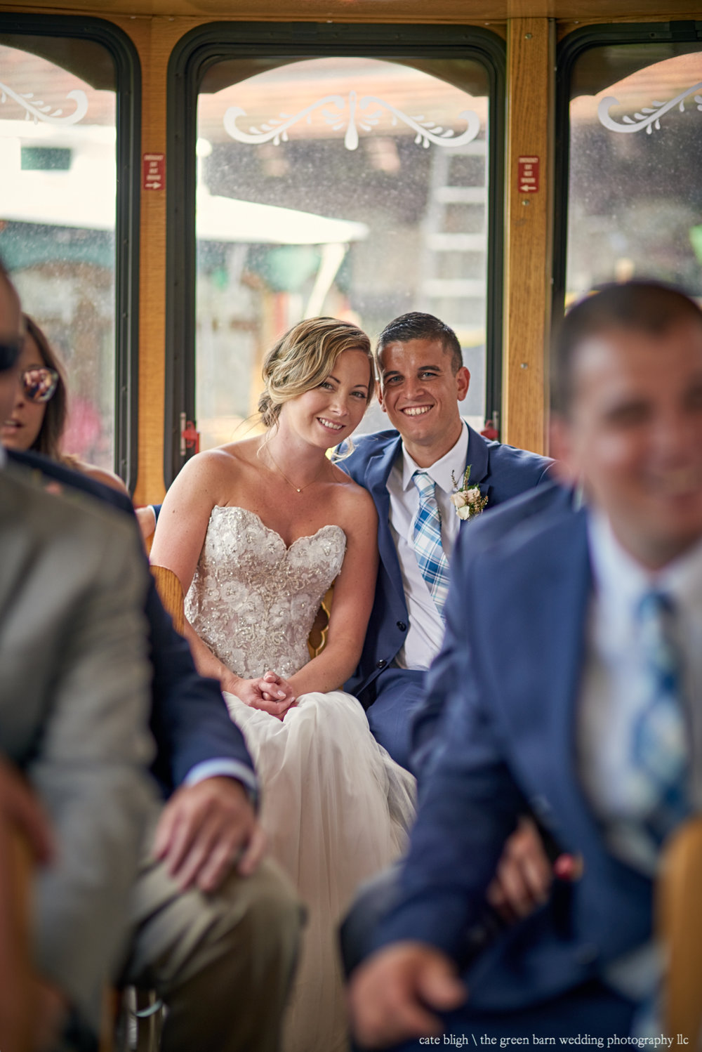 Bride and Groom in trolley at Castle in the Clouds outdoor wedding NH