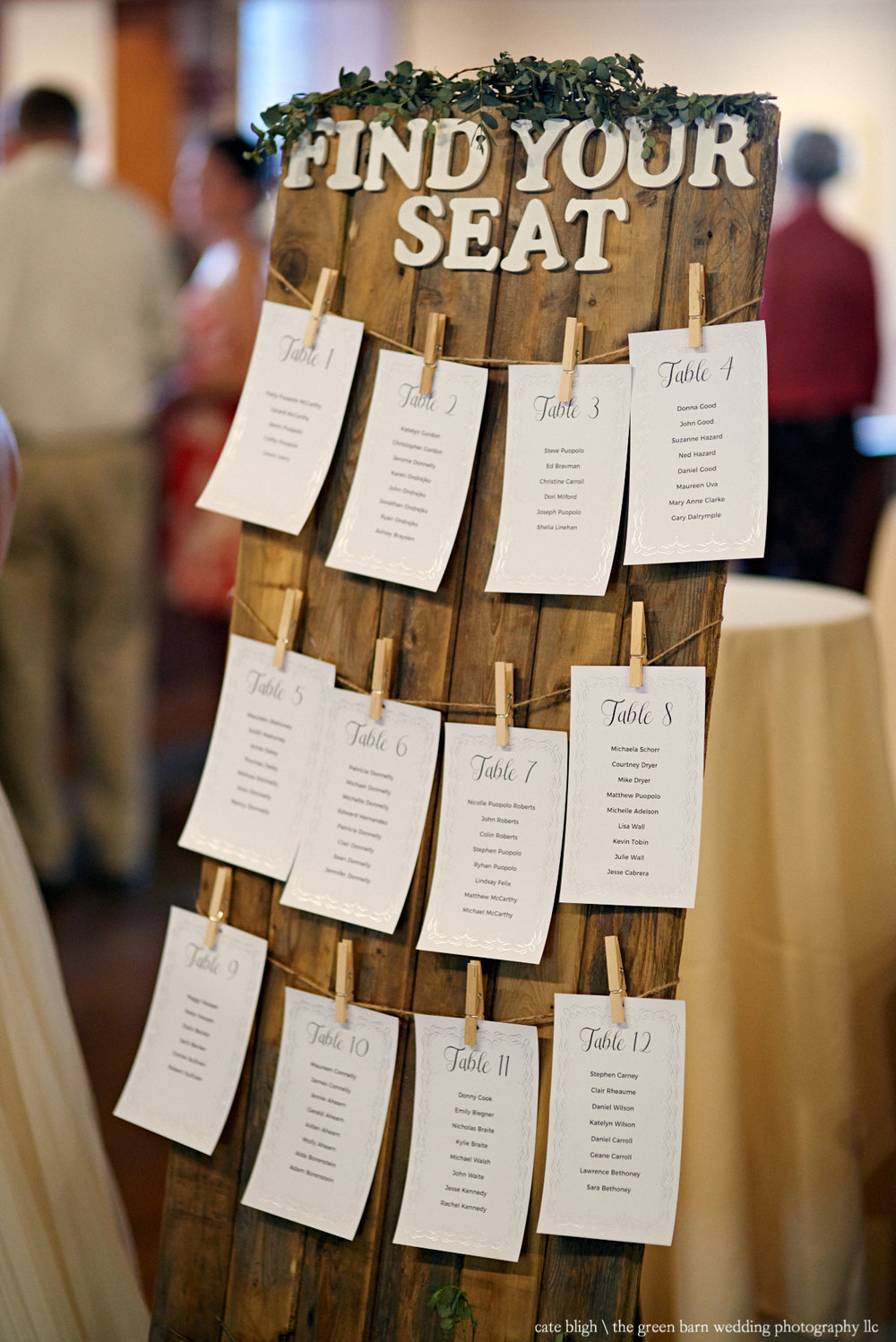Fun seating chart idea NH rustic wedding Castle in the Clouds