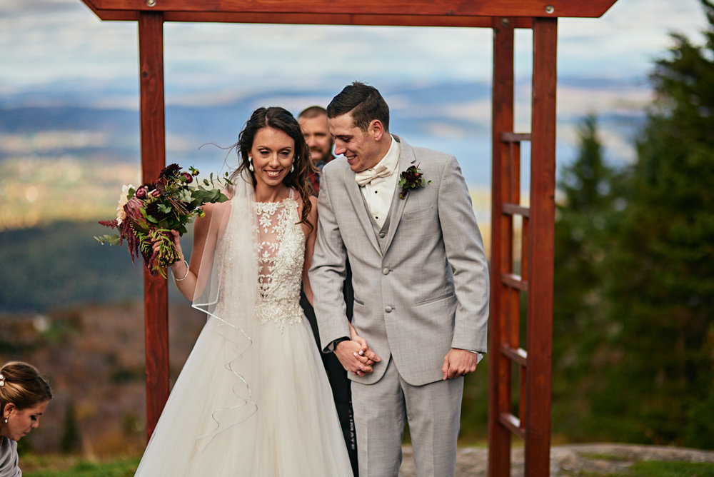Wedding Photography by Cate Bligh of The Green Barn Wedding Photography LLC | Mountaintop Wedding Ceremony at Mount Sunapee Resort in Newbury, NH