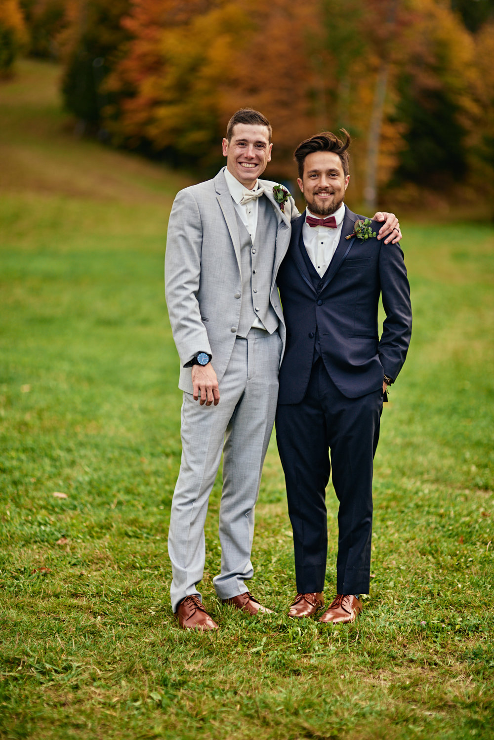 Wedding Photography by Cate Bligh | Fall foliage photos of the bridal party at Mount Sunapee in Newbury, NH