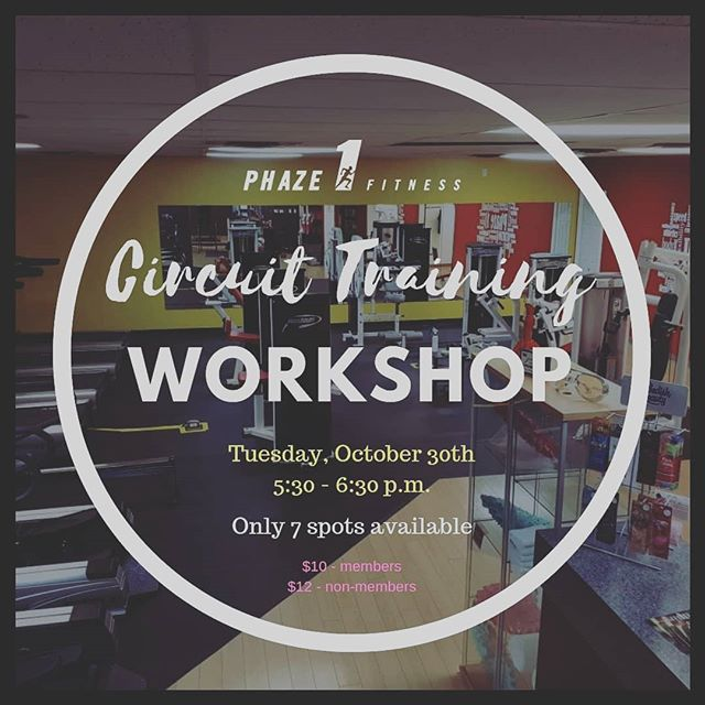 CIRCUIT TRAINING WORKSHOP 💪💪 Now that we have a circuit area, come learn how to use it!! 💪💪 Our Personal Trainer, Brooke, will spend an hour with the group to show you how to get a full workout while focusing on proper form. 🏋️‍♀️ 🤩🤩🤩 There are only  7 SPOTS AVAILABLE  so contact us today to avoid missing out. ======== Payment is due in advance to confirm your spot. ======== #circuittraining #gym #fitness #weights #phaze1 #24hourgym #personaltraining  #downtownpembroke #supportlocalbusinesses