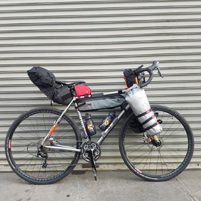 Joe's bike set up with frame bags