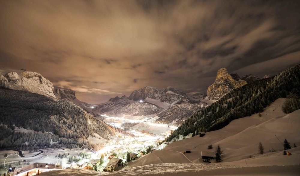 Corvara village at night.