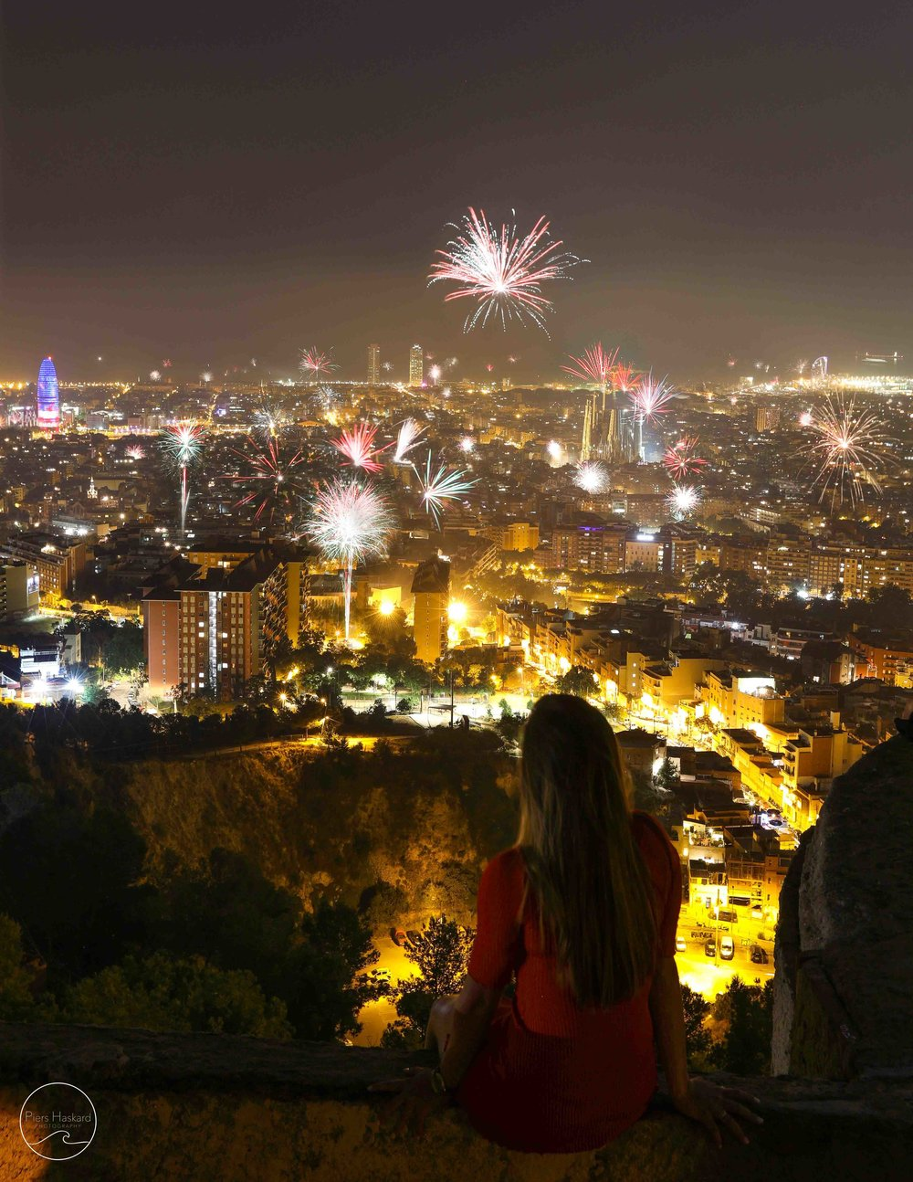 This happened later that evening. Turns out we stumbled upon the best seat in the house to watch the St. John's celebrations. Fireworks over the Segrada Familia and in every other corner of the city.