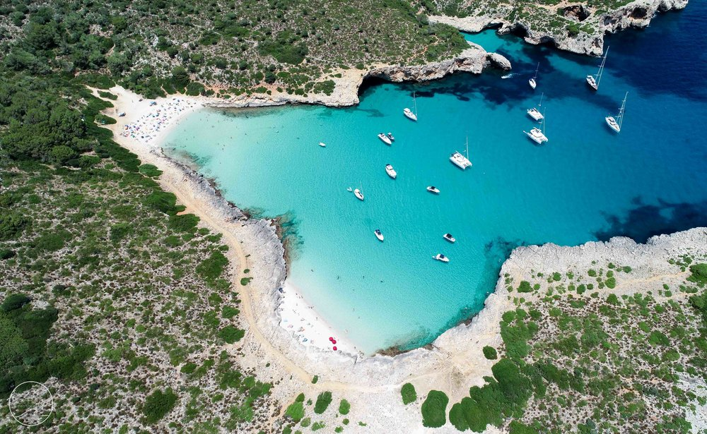 'Boats At Cala Varques' - available in the 'Aerials' category.