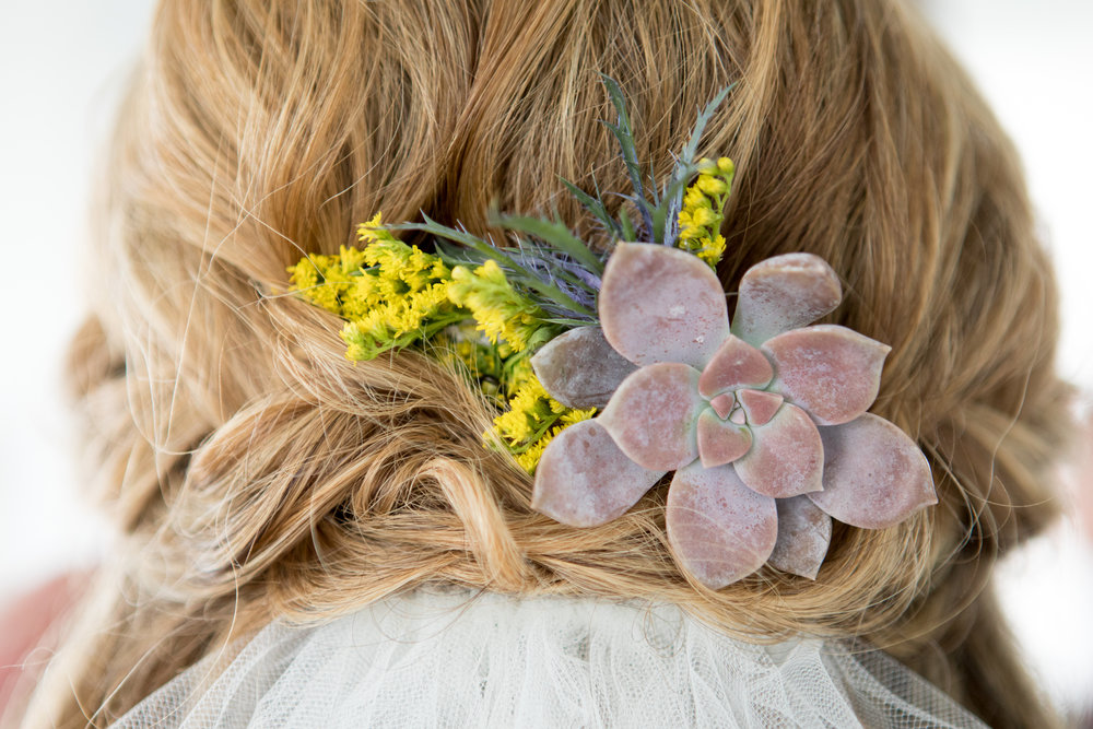 Bridal succulent hair