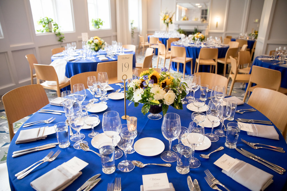 blue and sunflower wedding