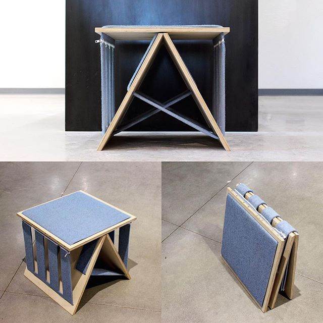 Selling the first edition FilzFalten - a flat pack stool assembled by zippers alone. Made with @filzfelt 100% Wool Design Felt. $250 (Shipping Included) inquiries@manyhandsdesign.com  #flatpack #furnituredesign #firstedition #onlyone