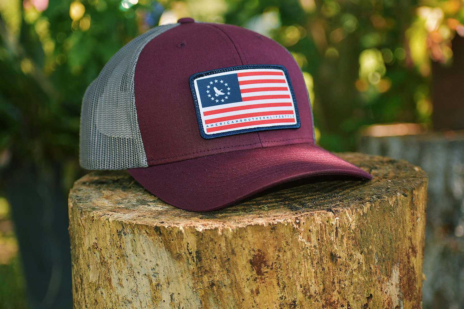 e92e91e0ca7 American Patch Trucker Hat - Burgundy — Southern Mallard Clothing®