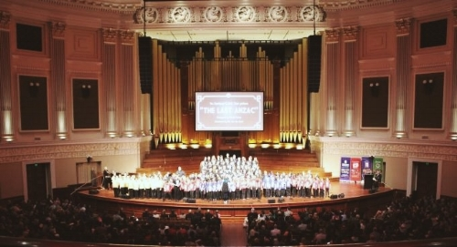 Conducting at Brisbane City Hall for the  Voices of ANZAC  Show, 2015