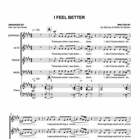 I Feel Better (Gotye) SATB with Piano Accompaniment