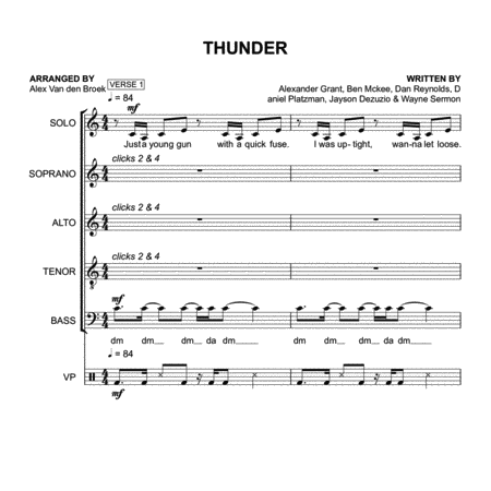 Thunder (Imagine Dragons) SATB with Vocal Percussion
