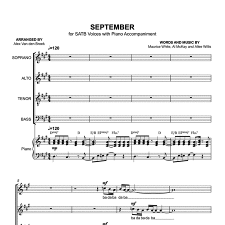 September (Earth, Wind & Fire) SATB with Piano Accompaniment