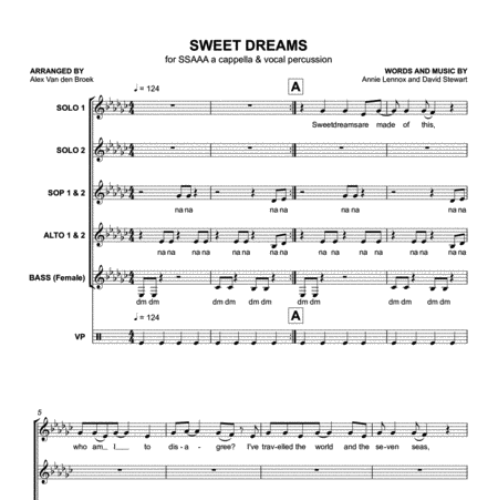Sweet Dreams (Eurythmics) SSAAA with Vocal Percussion