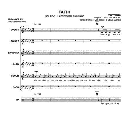 Faith (Stevie Wonder feat. Ariana Grande) SSAATB with Vocal Percussion