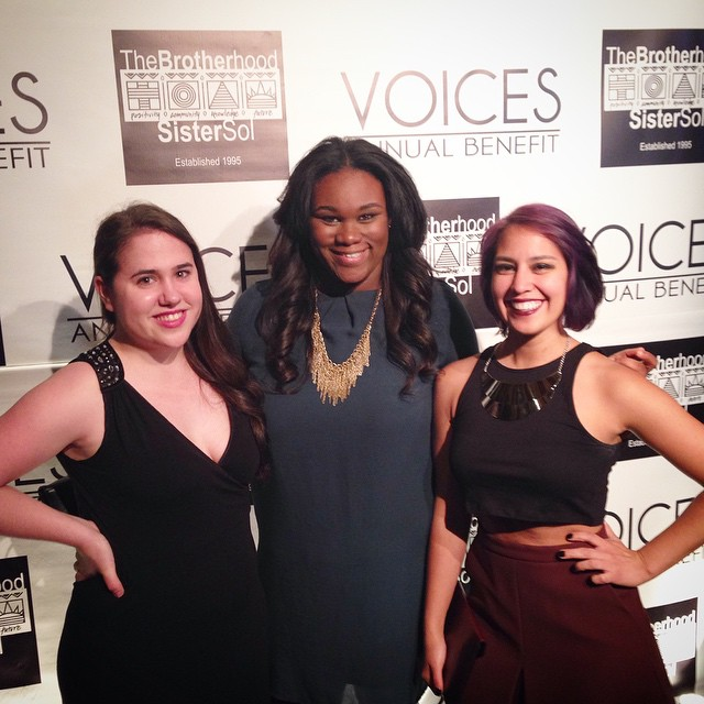 Attending the VOICES Annual Benefit supporting the  Brotherhood/Sister Sol Organization .  May 2015