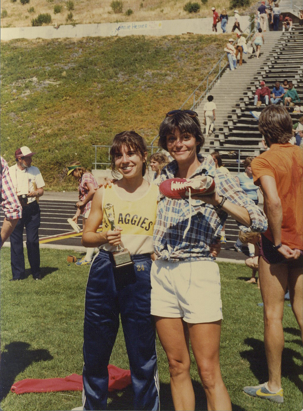 Patti with Coach Sue Miller - AIAW Nationals - 2nd Place 3000m - 1981